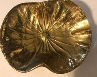 Virginia Metal Crafters LOTUS Brass Vintage Metal Trinket Decor Tray # 3-24 1948