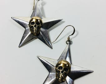 5 Point Star with Brass Skull Earrings by Ten Dollar Studio where all items are always Ten dollars