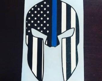 Spartan Helmet Blue Line Decal, Police Sticker, Warrior Blue Line, Thin Blue Line Sticker, Yeti, Tumbler, Decal, Oracal, Sticker