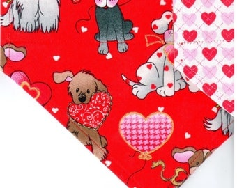 Love Pups (Glitter) | Valentines Day Dog Bandana | Dog Bandana | Puppy Bandana | Pet Bandana | Over the Collar Bandana