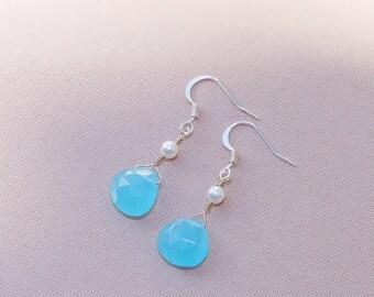 Aqua Chalcedony Drop Earrings