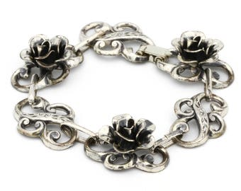 Sterling Rose Scroll Bracelet, Antique 30s, 925 Silver Link Bracelet, Open Rose Flower, Victorian Bracelet, Bridal Jewelry, Wedding Bracelet