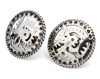 Tribal Aztec Earrings, Native American, Antique 1940s Mayan Jewelry, 925 Sterling Silver, Signed RBP Mexico, Sun And Eagle, Round Screw Back