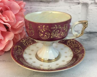 Burgandy White Gold Band Royal Sealy Style Fine Bone China Porcelain Opalescent Pedestal Tea Cup and Reticulated Saucer Romantic Home