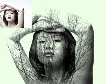 Double exposure, photo manipulation portrait and forest