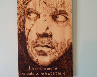 Tyrion Lannister woodburning portrait wall plaque, character from George R R Martin's Game of Thrones and as depicted in the tv series