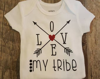 Love My Tribe, Arrows, Super Cute Unisex Onesie Bodysuit, Makes A Great Baby Shower Gift
