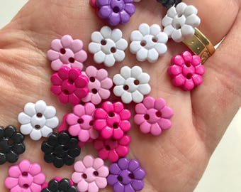 Sweet novelty flower button packs, pretty buttons, small buttons, two hole buttons, colourful buttons