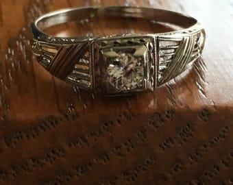 Diamond Engagment Ring Art Deco 1920s white gold