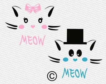 Kitty svg, Cat svg, Meow svg, kitten face svg, Lashes svg, Purr-fect svg, SVG Files, Cricut, Cameo, Cut file, Clipart, Svg, DXF, Png, Eps