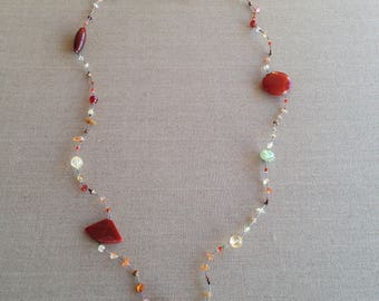 Vintage gemstone and silver necklace