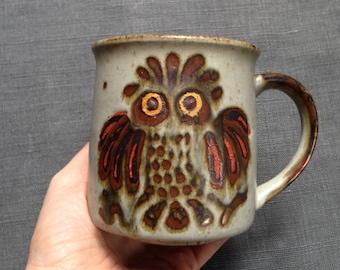 Vintage owl stoneware mug