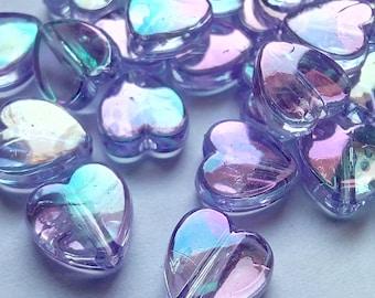 10 transparent heart beads 8x3mm purple acrylic