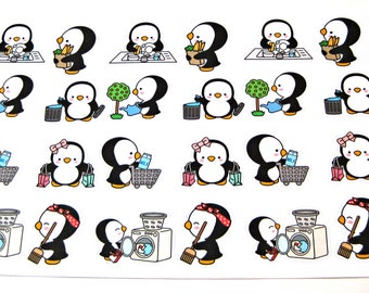 Penguin Stickers - Penguin Planner Stickers - Chore Stickers - Cleaning Stickers - Shopping Stickers - Laundry - Sweeping - Busy Penguins