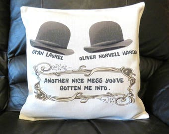 Laurel and Hardy Cushion Cover, Laurel and Hardy Hats, Laurel and Hardy Gift.