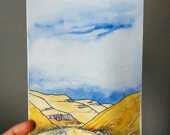 Deschutes River, ORIGINAL watercolor,landscape,illustration,ink,Oregon,bend,Portland,night sky,blue,pen and ink,nature,abstract art