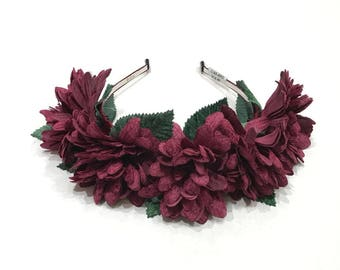 FREE SHIPPING - Pink Velvet Flowers With Leaves Headband - Floral Wreath - Flower Headband - Floral Crown