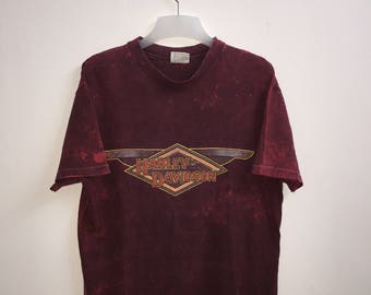 "8]--- Vintage! 1983 Harley Davison ""Mills"" TyeDye -Shirt | Burlington, N.J | Large Size | by R.K Stratman Inc"