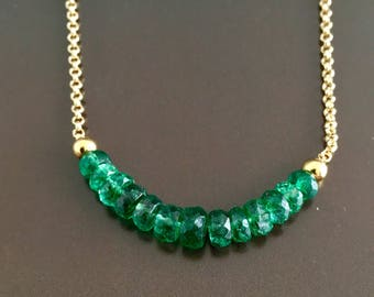 Natural Emerald on Gold Vermeil Chain Necklace