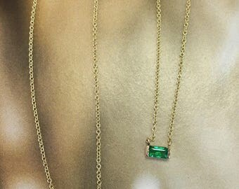 Emerald pendant necklace /in 14k Yellow Gold