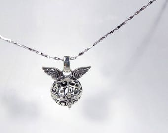 Angel Wings Storage Box Necklace in Solid Sterling 925 Silver (SN022)