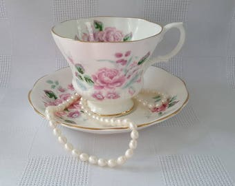 Royal Albert Pink Flowers  Fine China Cup and Saucer, England
