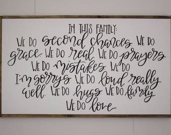 In This Family sign - large framed sign - hand lettered sign - farmhouse sign - hand painted sign - farm house decor - rustic sign