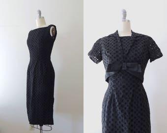 Vintage 1950s black eyelet wiggle dress with matching cropped jacket   50s fitted dress   sleeveless shift dress   satin ribbon bolero   XS