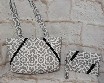 Gray aztec purse set - Handmade purse set - Gray bag - Handbag - Gray aztec print - Gray print - Handmade - Fabric bag - Double strap