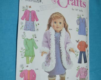 Simplicity 4786 18 Inch Doll Clothes Sewing Pattern - UNCUT