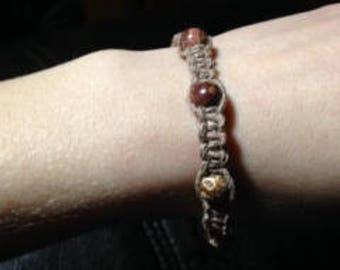Hemp bracelet with polished stone beads