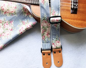 NuovoDesign Floribunda Slate Blue Ukulele strap with leather ends,  end pin and tie string included