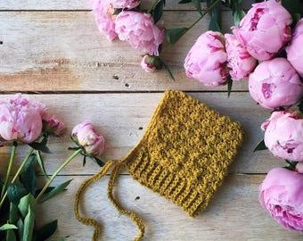 Crochet Baby Bonnet, baby bonnet, bonnet, pixie, baby fashion, custom gift, unique gift, crochet, baby hat, handmade, mustard, pixie hat