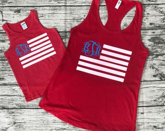 Red, White, and Blue Monogrammed American Flag Tank Top!