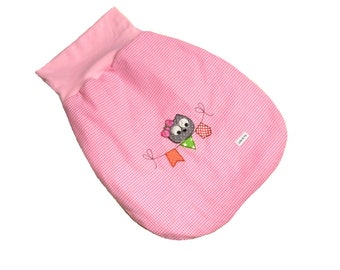 Infant sleeping bag from 0 to 6 months cute owl rose with fleece feed, Schlafsack, Pucksack Eule rosa