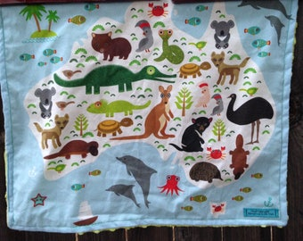 AUSTRALIA map blanket - Aussie animal baby minky security blankie - small travel blanky, lovie, lovey, woobie - 16 by 19 inches