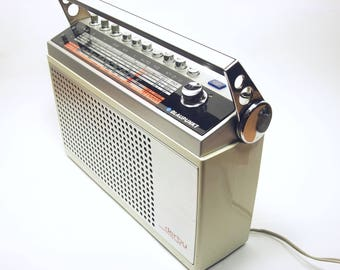 70s Portable Transistor Radio German BLAUPUNKT DERBY COMMANDER retro vintage silver chrome old West Germany mid century modern world radio