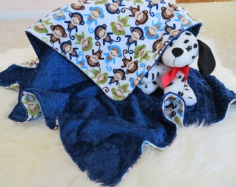 Personalized Baby Boy Blanket, Baby Blanket, Monkey Baby Boy Blanket, Baby Gift, Baby Shower Gift, Minky Baby Blankets