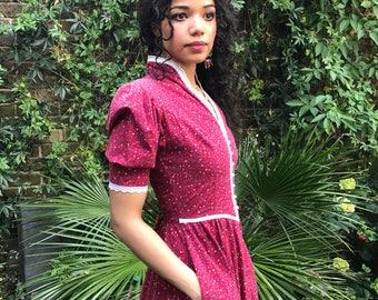 Vintage 70s Gunne Sax floral red western prairie midi dress, Renaissance faire puff sleeve