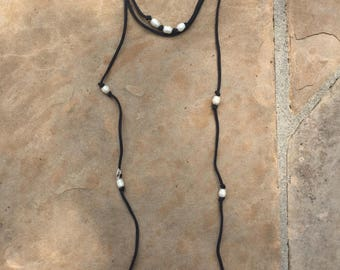 Pearl Leather Double Wrap Lariat