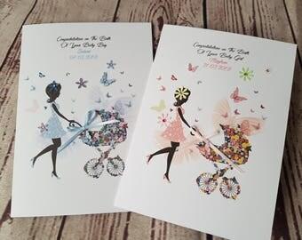 Handmade Personalised Baby Boy Baby Girl New Baby Greetings Card