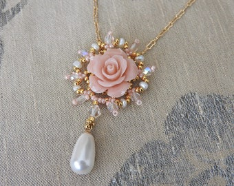 Flower Jewelry, Pink Flower Necklace, Romantic Necklace, Pink Necklace, Flower pendant, Pearl Necklace, Gold filled Necklace, Bead Necklace