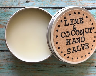 2 oz Lime and Coconut hand salve, Hand balm, Botanical salve, lime hand salve, coconut hand salve, skin care, skin care gift, natural salve