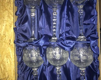 Czech bohemia crystal glass - Cut wine glasses 23cm - 280ml