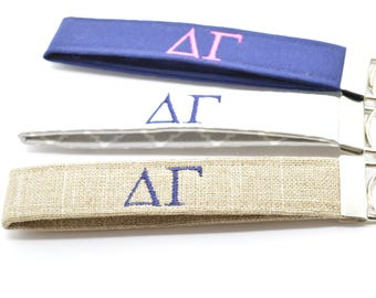Officially Licensed Delta Gamma Sorority Keychain Key Chain Fob Wristlet Greek Life Personalized Embroidered Choose Color!