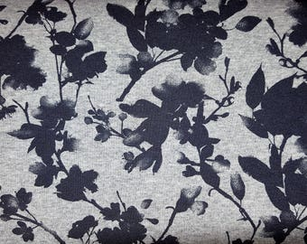 French Terry blue paint flowers grey / navy