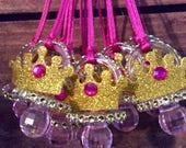 Fuchsia princess crown baby shower pacifier/fuchsia princess baby shower necklace game/fuchsia princess crown baby shower favor/