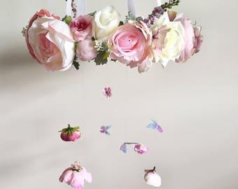Flower Mobile, Nursery Mobile, Baby Girl Mobile, Floral Mobile, Pink Mobile, Nursery Mobile, purple mobile, butterfly mobile