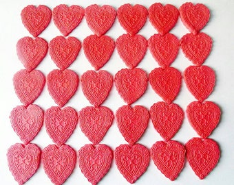 101 Red Hearts cupcake toppers fondant Edible 30 pcs