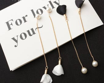 Korean Pearl Flower Petal Tassel Threader Earrings Fashion Jewelry